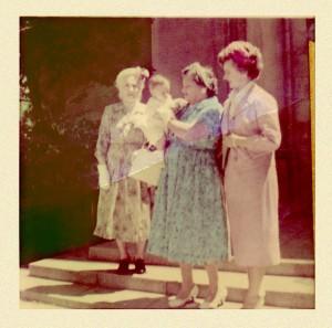Baptismal photograph of Deacon Eric with great-grandmother Jesús García de Alvarado, grandmother María Lucia Alvarado de Dunham, and mother Rosemary Dunham Stoltz at Holy Family Church in Glendale, Calif.